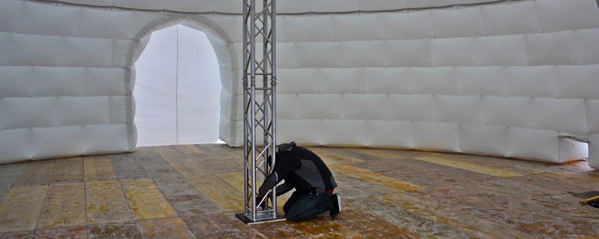 Die Innenansicht des Riesigen Uglus, das wir für einen Schweizer Curling-Club realisiert haben.