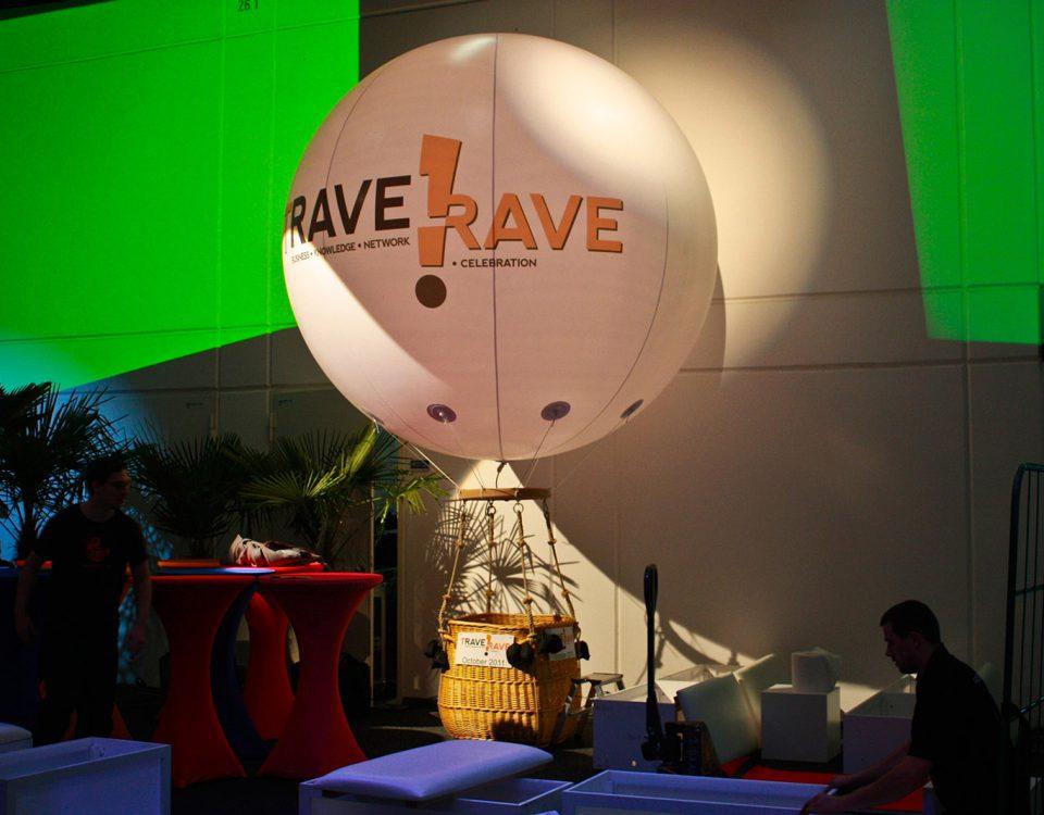 Der Travel Rave - Ballonkorb, ein echter Hingucker auf Messen und Events