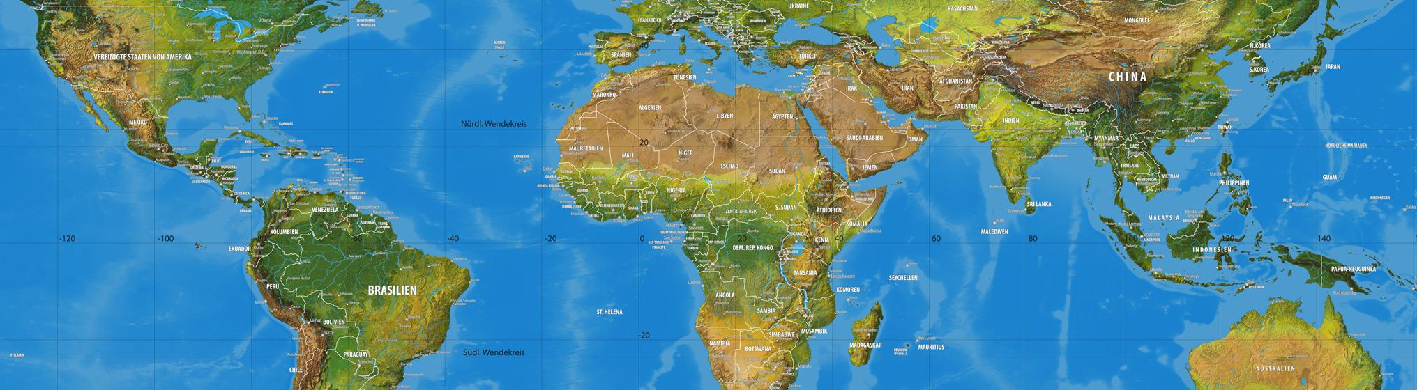 Weltkarte für Globus
