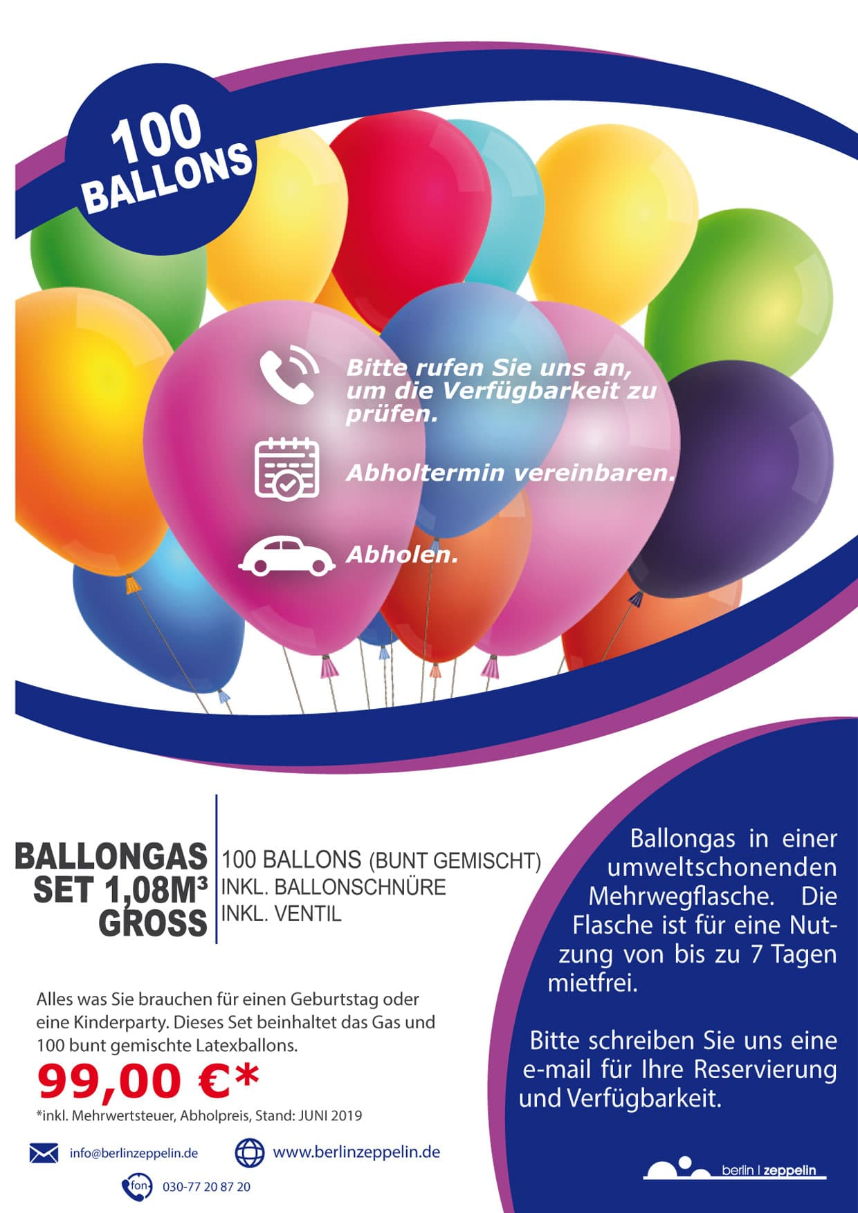 Helium-Ballongas-Set-100 Ballons